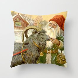 """""""The Sled Goat"""" by Jenny Nystrom Throw Pillow"""