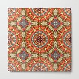 Tribal Red Mandala Pattern Metal Print