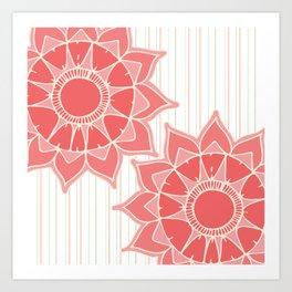 Pastel color coral pink floral mandala stripes Art Print