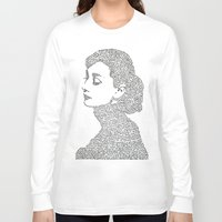hepburn Long Sleeve T-shirts featuring Audrey Hepburn by S. L. Fina
