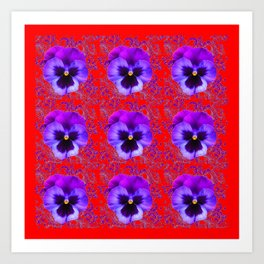 DECORATIVE PURPLE PANSY FLOWERS ON RED COLOR Art Print