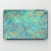 artists iPad Cases featuring Sapphire & Jade Stained Glass Mandalas by micklyn