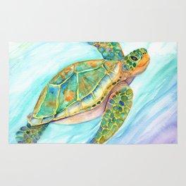 Swimming, Smiling Sea Turtle Rug