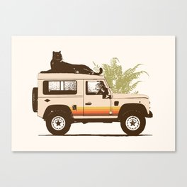 Black Panther on Car Canvas Print