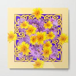 CREAM- PURPLE YELLOW FLOWERS CELTIC ART Metal Print