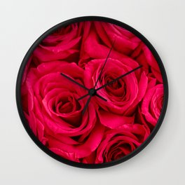 Red Roses Fine Art Photography, Flower Wall Clock