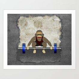 Sock Monkey Bodybuilder Art Print