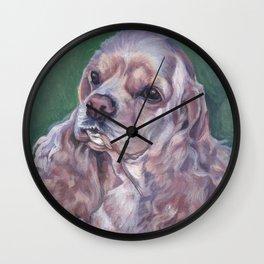 American Cocker Spaniel dog art portrait from an original painting by L.A.Shepard Wall Clock