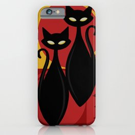 Devilishly Delightful Atomic Age Black Kitschy Cats iPhone Case