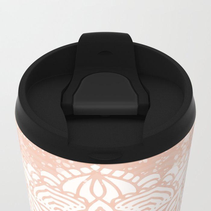 Seashell Mandala Coral Pink and White by Nature Magick Metal Travel Mug