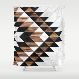 Urban Tribal Pattern No.9 - Aztec - Concrete and Wood Duschvorhang