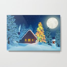 Cabin, Christmas tree and snowman in winter landscape at night Metal Print
