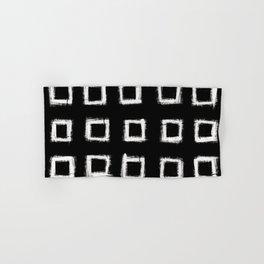 Square Stroke Dots White on Black Hand & Bath Towel