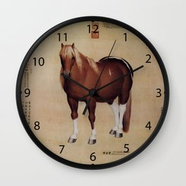 Chinese Ancient Papyrus With Horse Painting                          Wall Clock