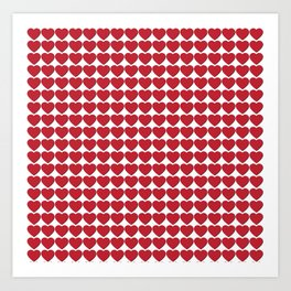 Red heart patterns. Hearty hearts Art Print