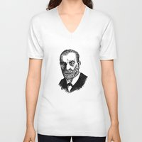 freud V-neck T-shirts featuring Freud by Allison Fortuna