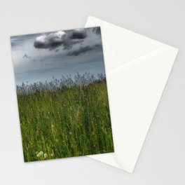 Grassland With Dark Clouds, Germany - Landscape Photography Stationery Cards