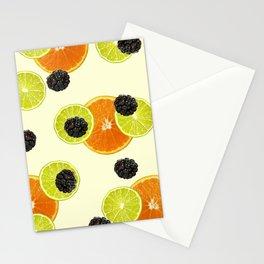 Orange Lemon Blackberry pattern - yellow Stationery Cards