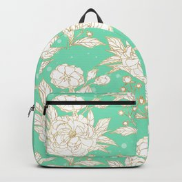 stylish golden and mint floral strokes design Backpack
