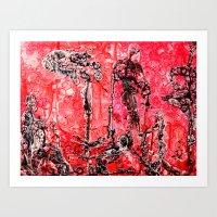 in the flesh Art Prints featuring Flesh of my Flesh by Dorian Monsalve - Surreal Scratchart