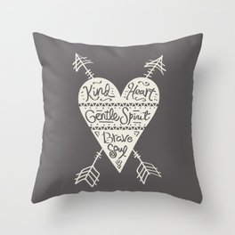 Kind Gentle Brave 2 Throw Pillow