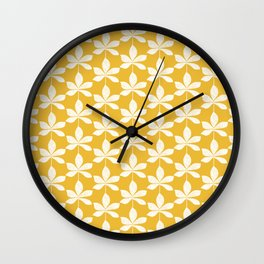 Modern distressed leaves pattern. Mustard yellow and white design. Wall Clock