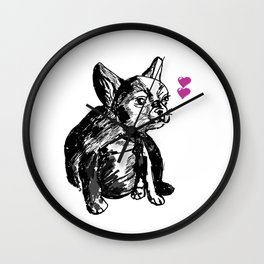 Bulldog Puppy Valentine Wall Clock