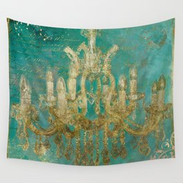 Gold and Peacock Chandelier Wall Tapestry