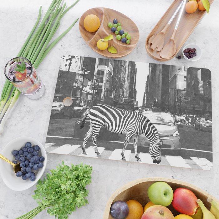 Black and White Zebra in NYC Cutting Board