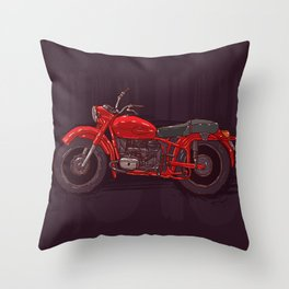 red vintage motorcycle Throw Pillow