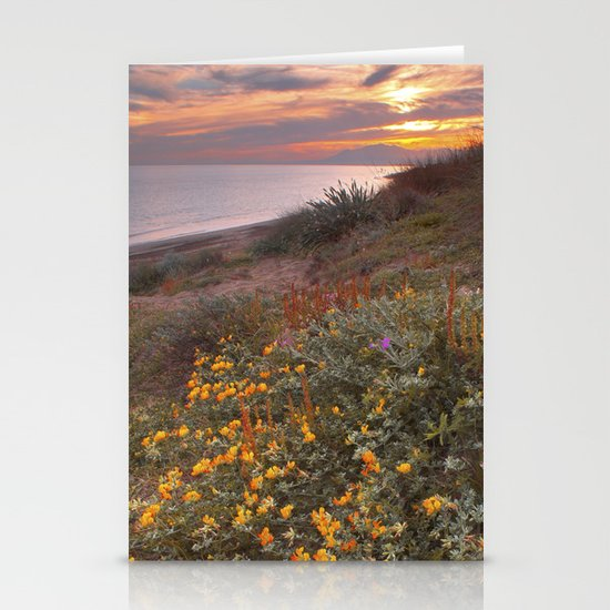 Yellow flowers at the sea Stationery Cards