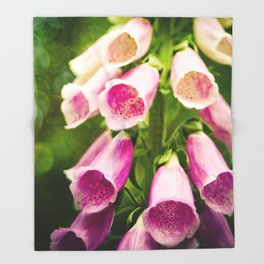 Painted Foxgloves Throw Blanket