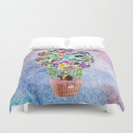 Teal Pink Vintage whimsical cat floral Air balloon Duvet Cover