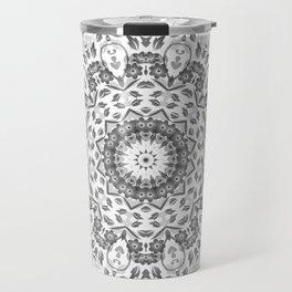 Gray White Floral Mandala Travel Mug