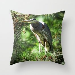 Roosting Great Blue Heron Throw Pillow