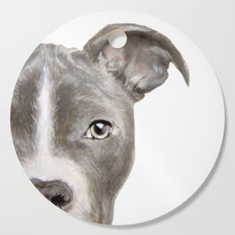 Pit bull with white background Cutting Board