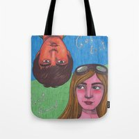 paper towns Tote Bags featuring Paper Towns by Anna Gogoleva