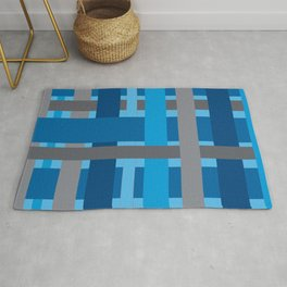 Grey and Blue Stripes Rug