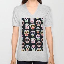 Day of the Dead Skulls Pattern on Black Unisex V-Neck