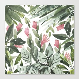 Forest green pink tropical summer watercolor floral Canvas Print