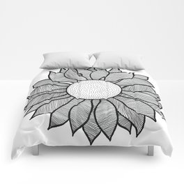 Isolated Inked Flower Comforters
