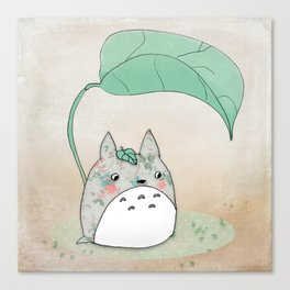 Floral Totoro Canvas Print