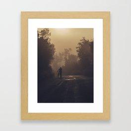 A morning biker Framed Art Print