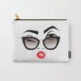 Wink eye, red lips Carry-All Pouch