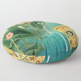 Chinese Lotus Full Moon Garden :: Fine Art Collage Floor Pillow