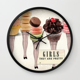 Girls They Are Pretty | Vintage Inspired Collage Wall Clock