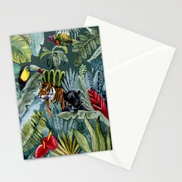 Jungle with tiger and tucan Stationery Cards
