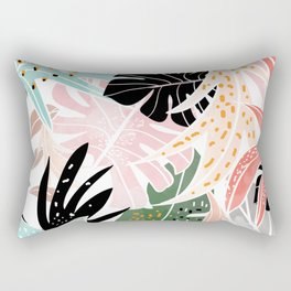 Veronica, Tropical Eclectic Bold Monstera Palm Illustration Nature Modern Colorful Jungle Rectangular Pillow