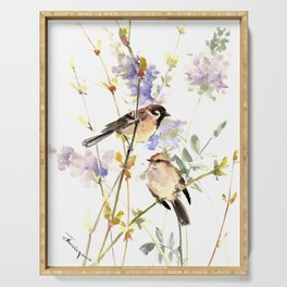 Sparrows and Spring Blossom Serving Tray