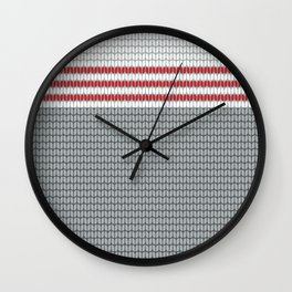 Rustic Winter Knit Pattern in Gray with 3 red stripes Wall Clock